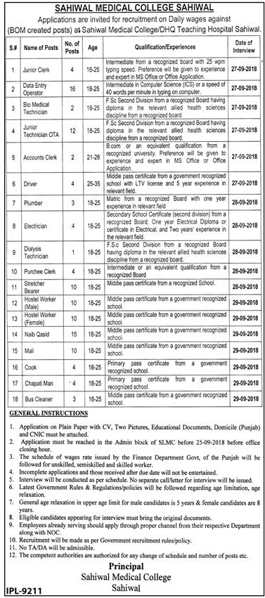 Sahiwal Medical College Latest Jobs 2018 Health Department-thumbnail