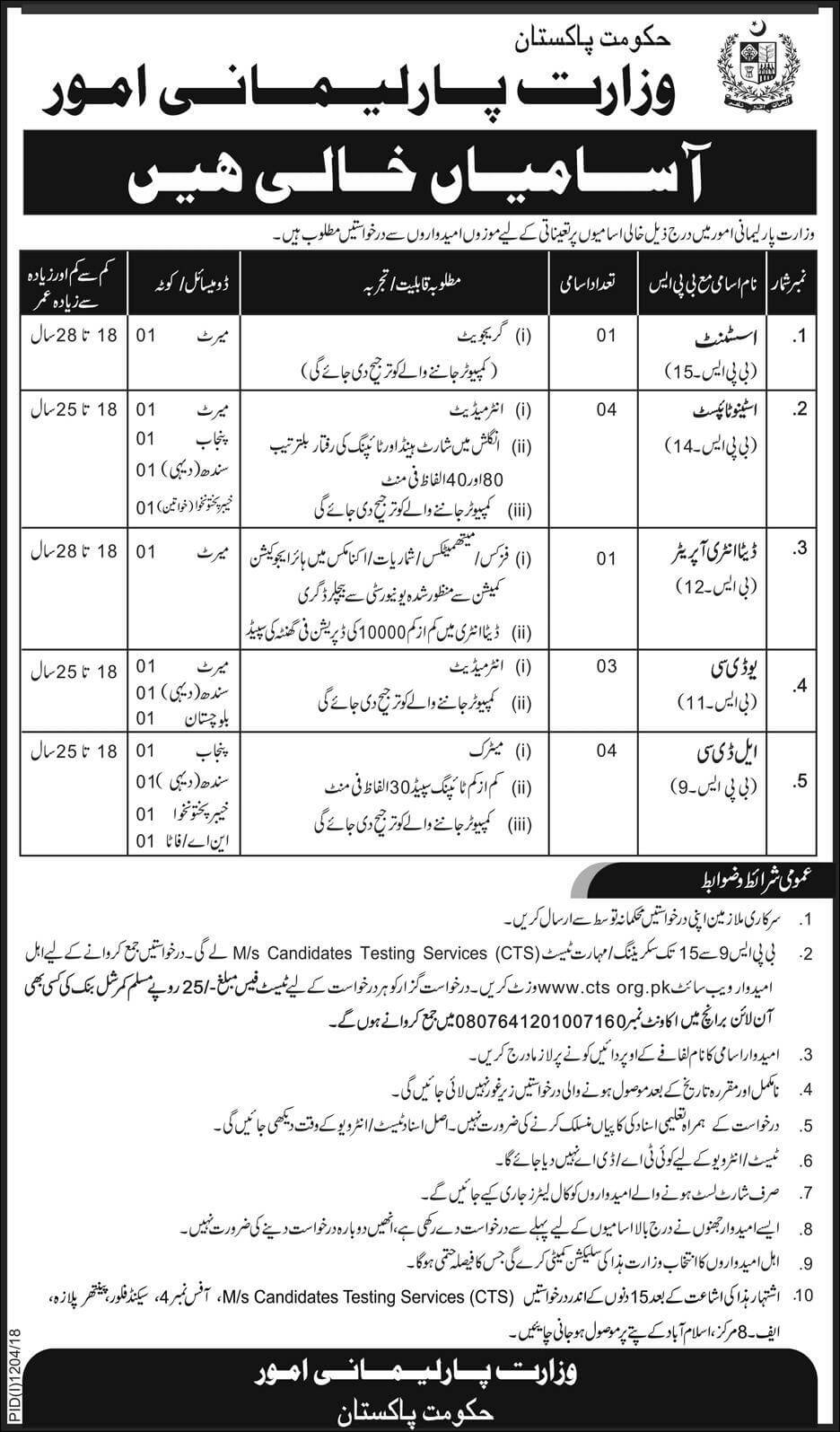 Government of Pakistan Ministry of Parliamentary Affairs Latest Jobs 2018 -thumbnail
