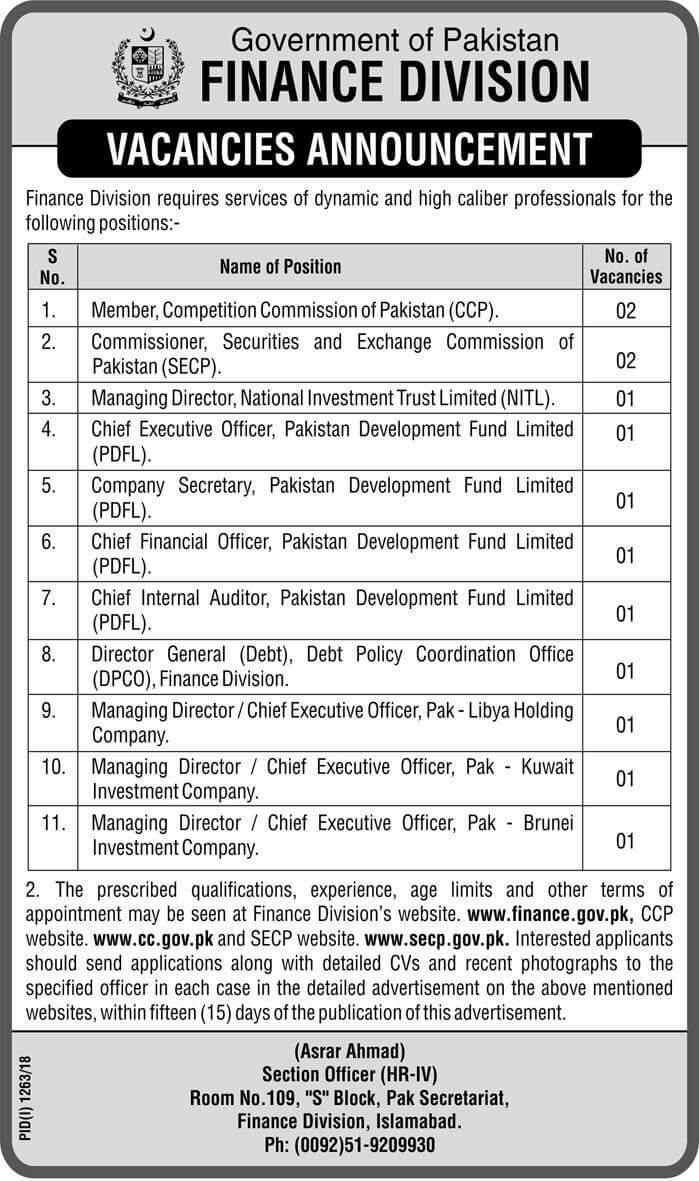 Government of Pakistan Finance Division Latest Jobs 2018 -thumbnail