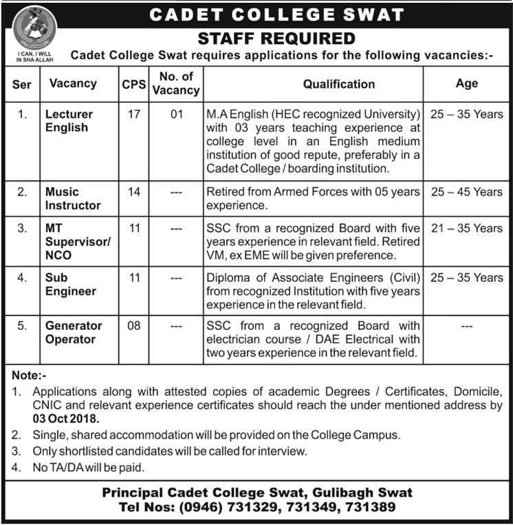 Cadet College Swat Latest Jobs 2018 Pak Army in peshawar on September, 2018 | Government