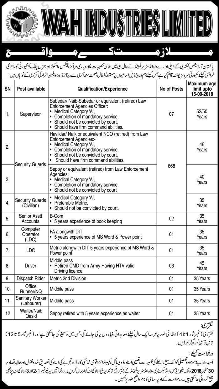 Pak Ordinance Factory Wah Ltd Latest Jobs 2018 Pak Army in All over in Pakistan on September, 2018 | Pakistan Army