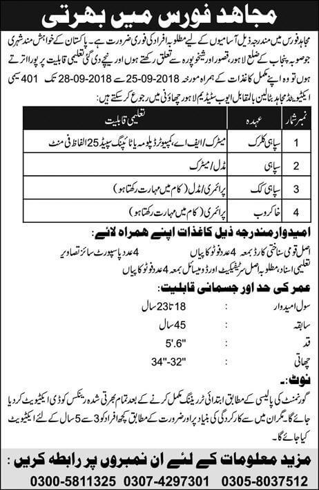 Mujahid Force Latest Jobs 2018 Government Pakistan in All over in Pakistan on September, 2018 | Government