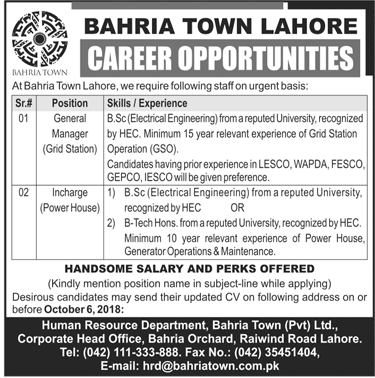 Bahria Town Lahore Latest Jobs 2018  in Lahore on September, 2018 | Private