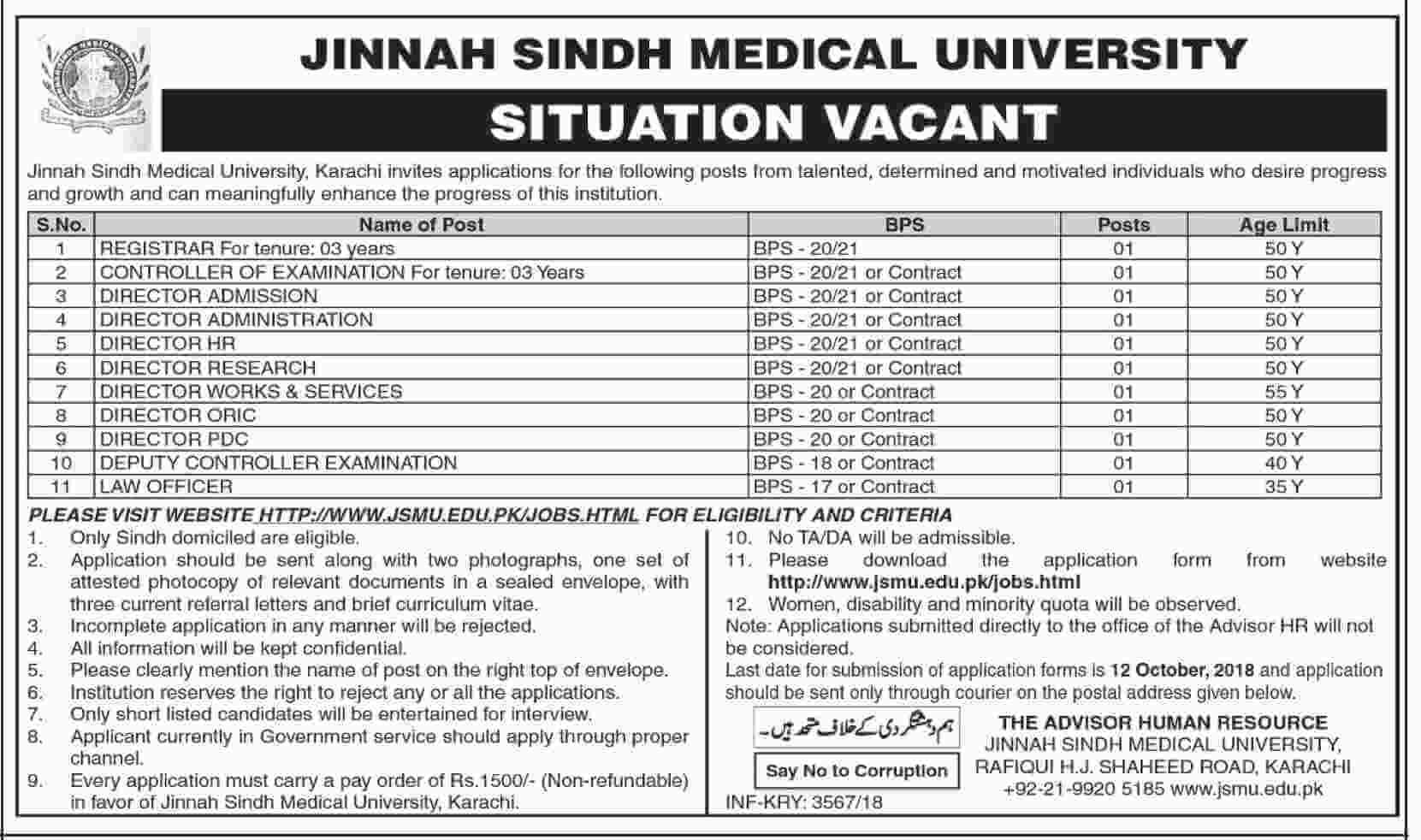 Jinnah Sindh Medical University Latest Jobs 2018 Government Jobs-thumbnail