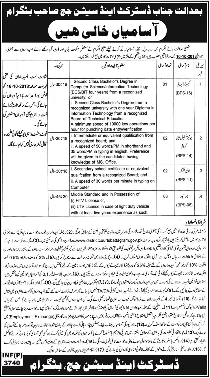 District And Session Judge Office Kpk Latest Jobs 2018 Government Jobs in KPK on September, 2018 | Government