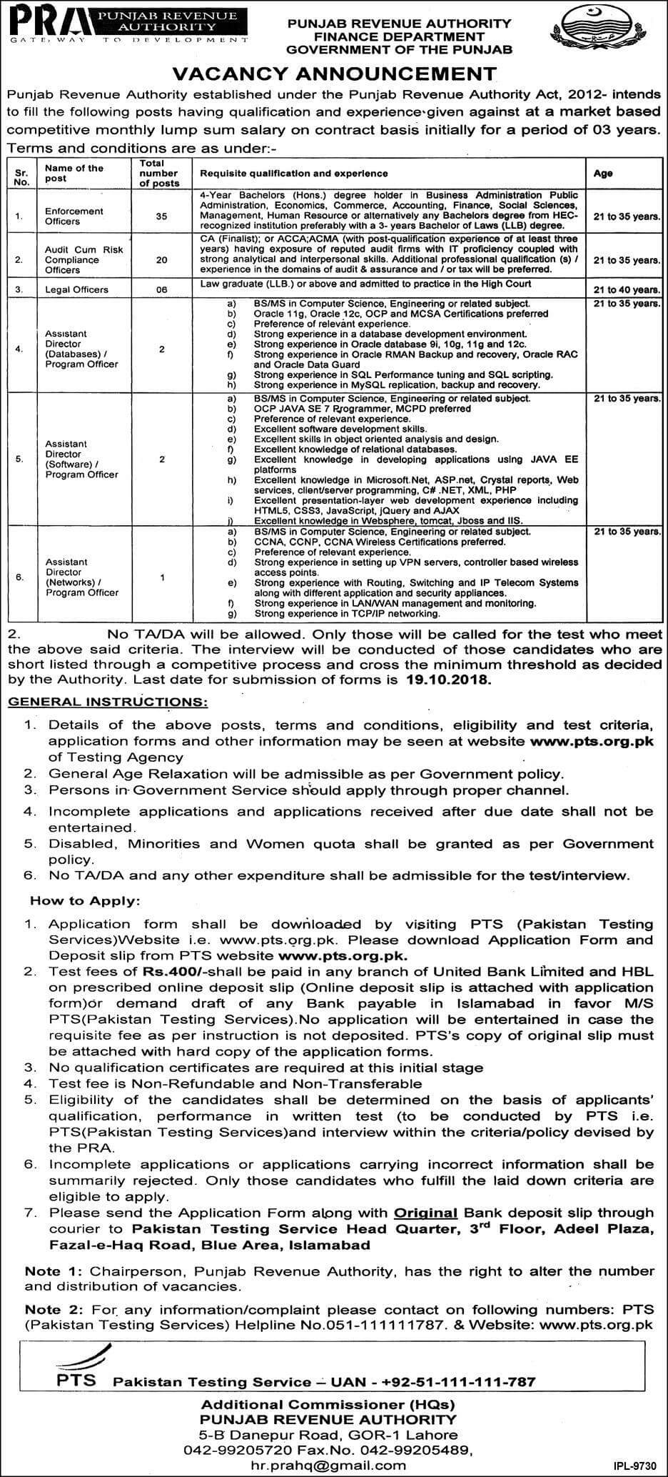 Punjab Revenue Authority Latest Jobs 2018 Government Jobs in Punjab on October, 2018 | Government