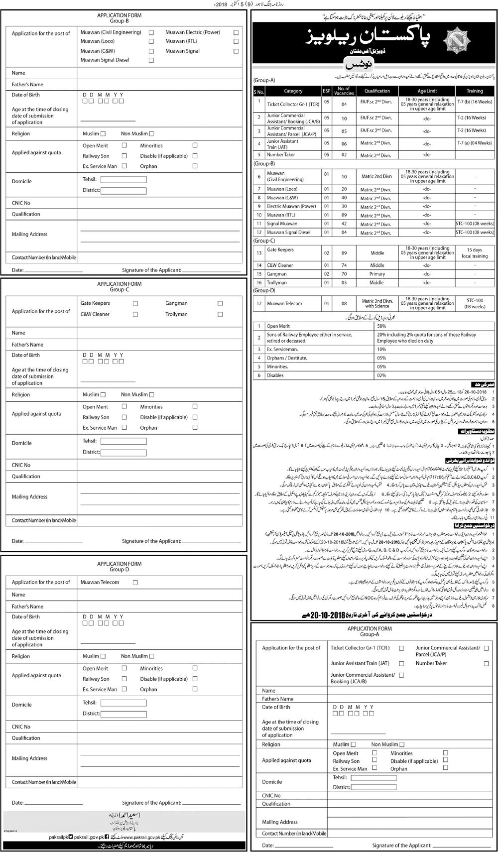 Pakistan Railway Divisional Office Multan Latest Jobs 2018 Government Jobs-thumbnail