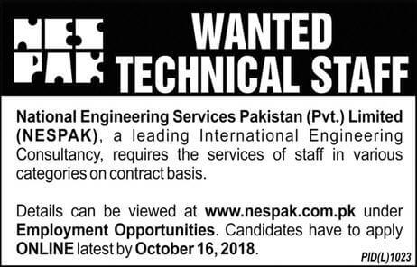 Nespak Latest Jobs 2018 Navy Jobs in All over in Pakistan on October, 2018 | Government