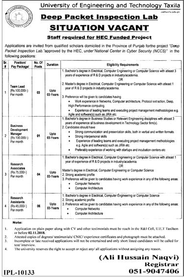 UET Taxila Deep Pocket Inspection Lab Latest Jobs 2018 Government Jobs-thumbnail