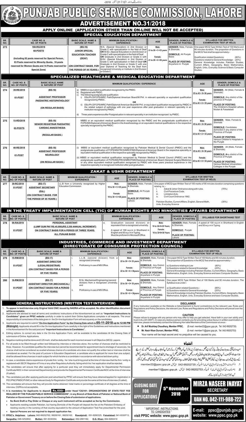 PPSC Latest Jobs 2019 Advertisement No 31 in Punjab on October, 2018 | PPSC