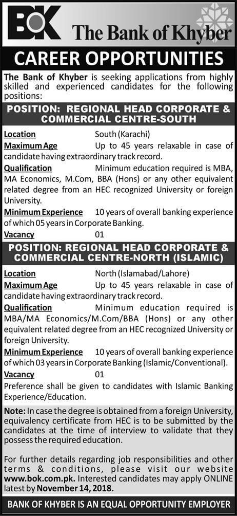 Bank Of Khyber Latest Jobs 2018 Banking Jobs in All over in Pakistan on October, 2018 | Bankers
