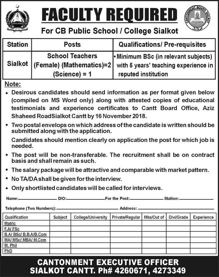 Teaching Staff required for CB public school and College Sialkot-thumbnail