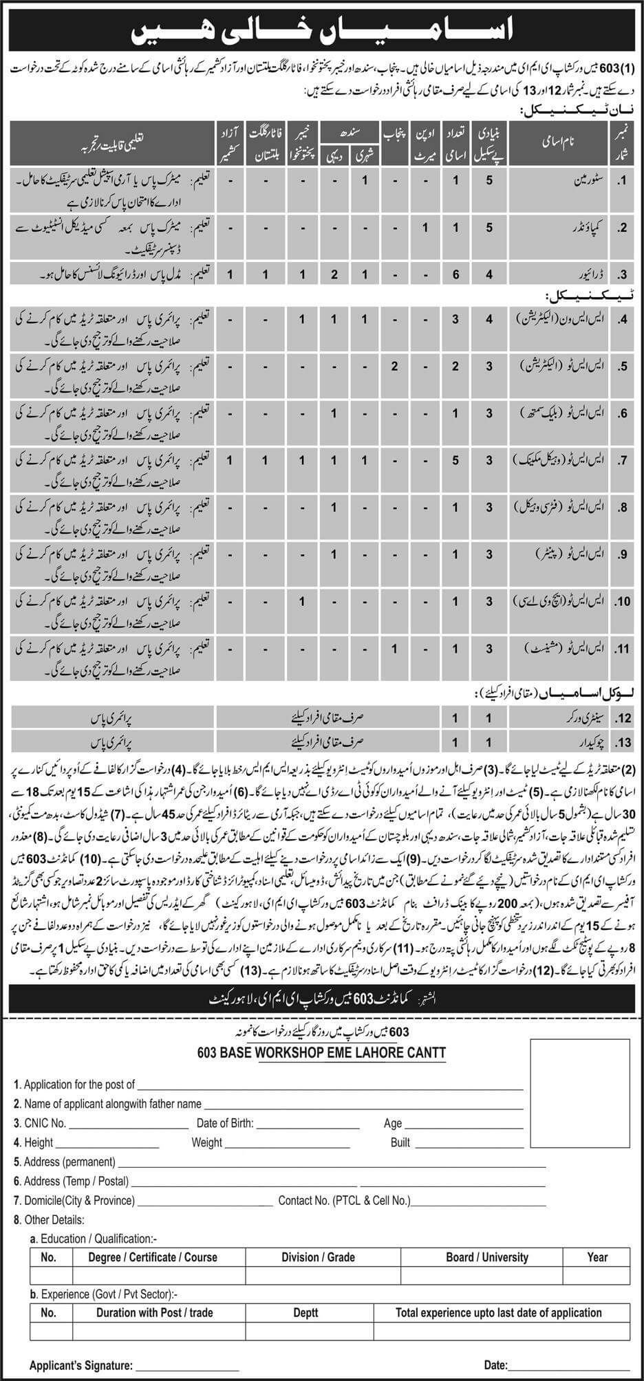 603 Base Workshop EME Pak Army Jobs 2018  in Lahore on November, 2018 | Pakistan Army