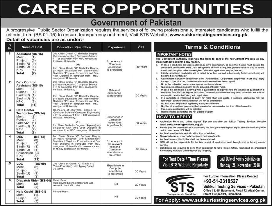 Public Sector Organization Jobs 2018 Government Pakistan  in All over in Pakistan on November, 2018 | Government