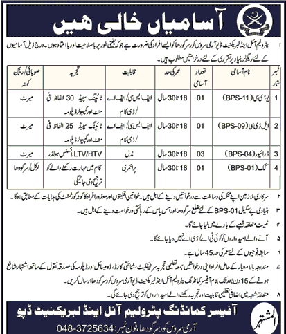 Pakistan Army Jobs 2018 Petroleum oil and Lubricant Depot-thumbnail