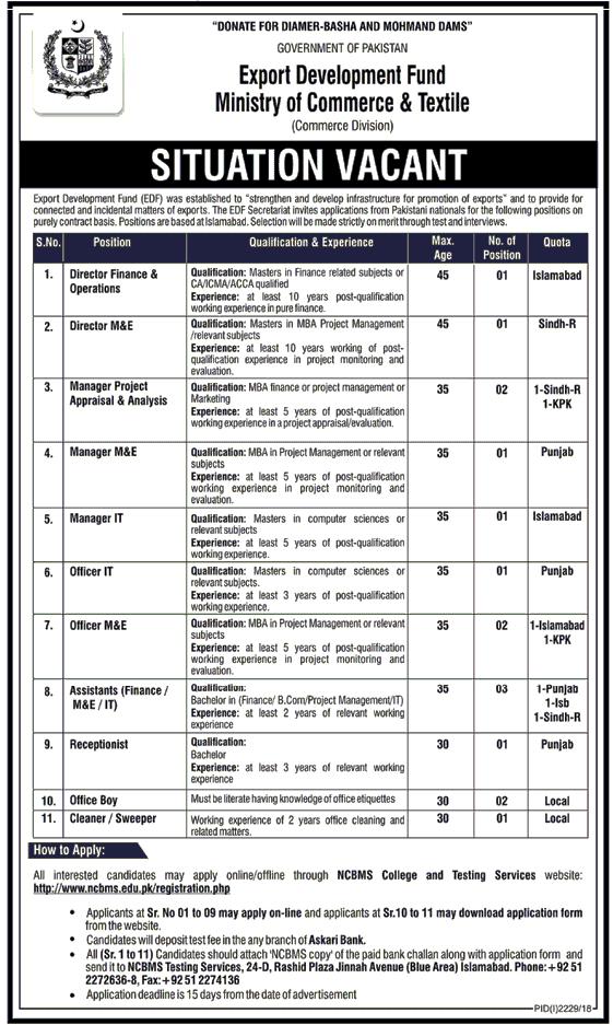 Export Development Fund Minister of Commerce & Textile Jobs 2018 -thumbnail