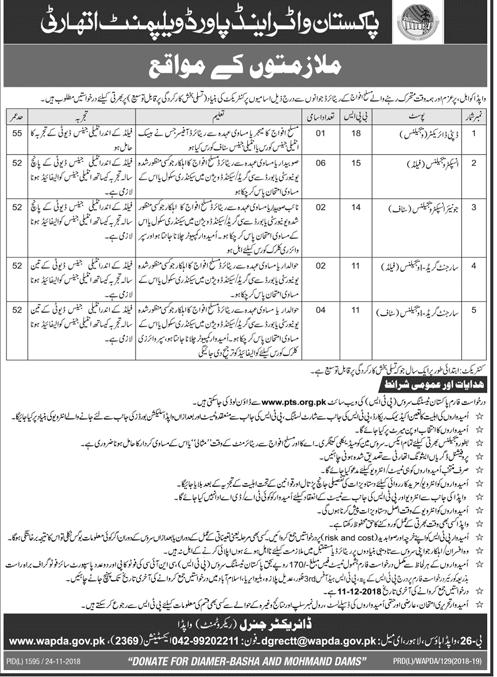 Wapda Jobs 2018 Government Pakistan in Punjab on November, 2018 | Government