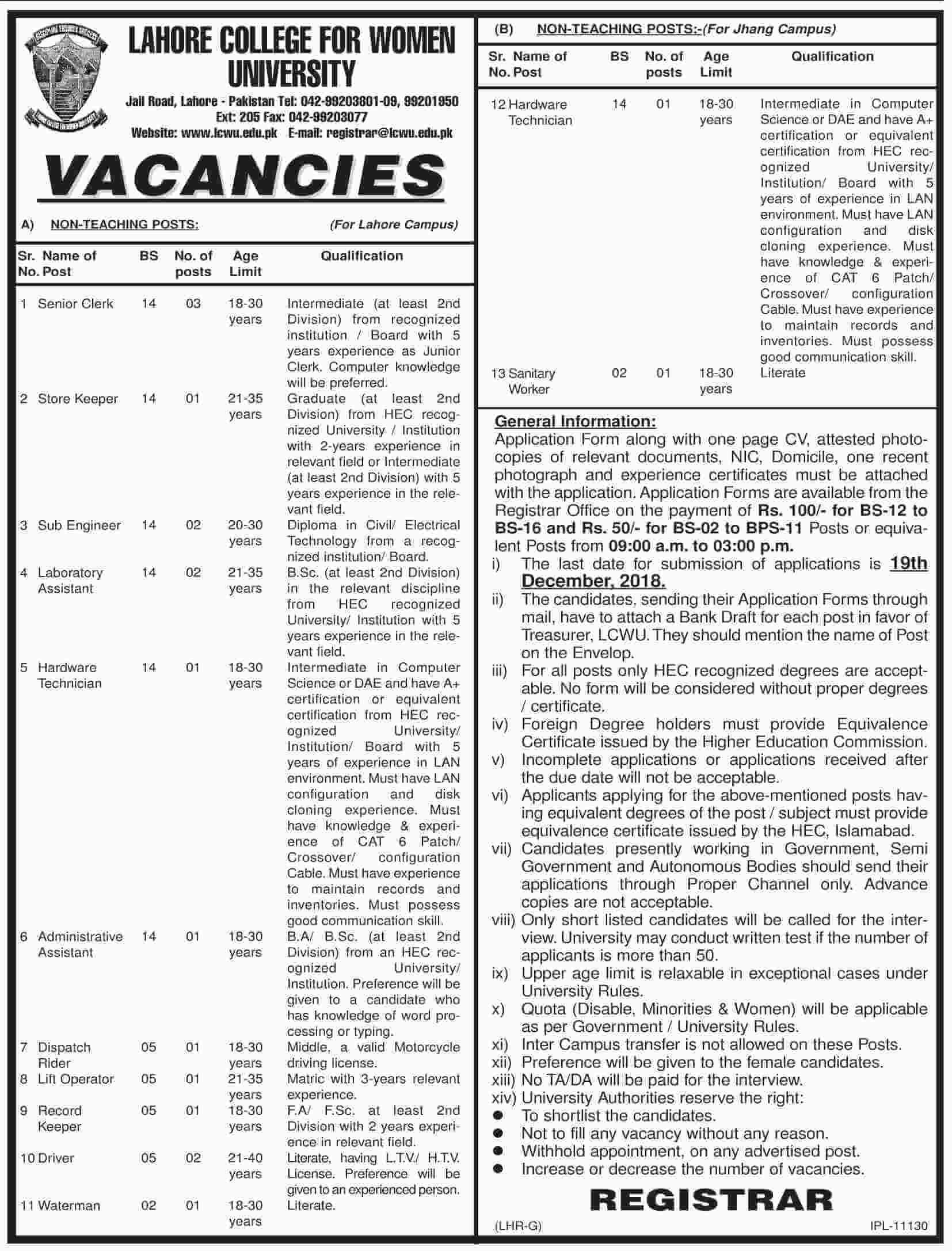 Lahore College for Women University Jobs 2018 -thumbnail