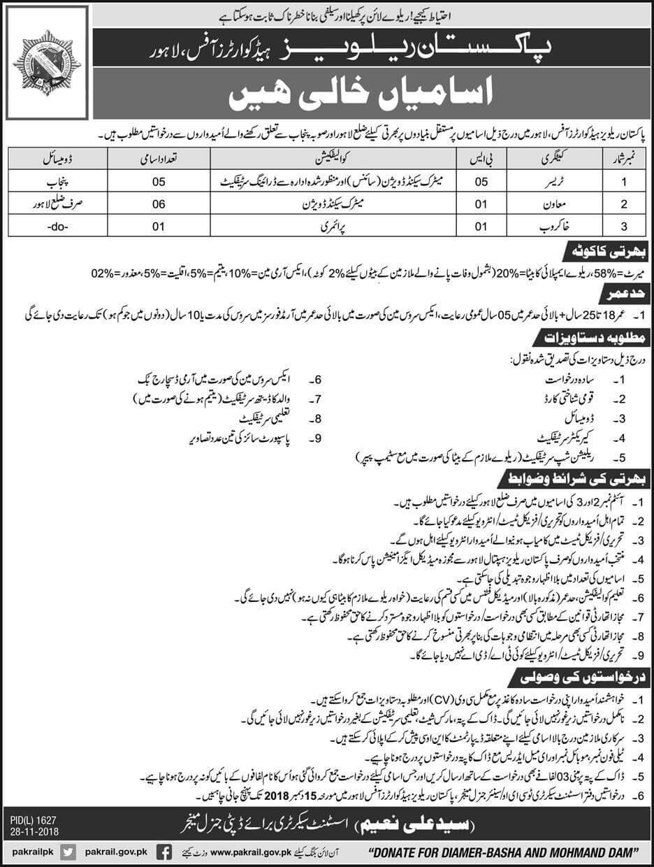 Pakistan Railway Head Quarter Office Lahore Jobs 2018 Government Pakistan-thumbnail
