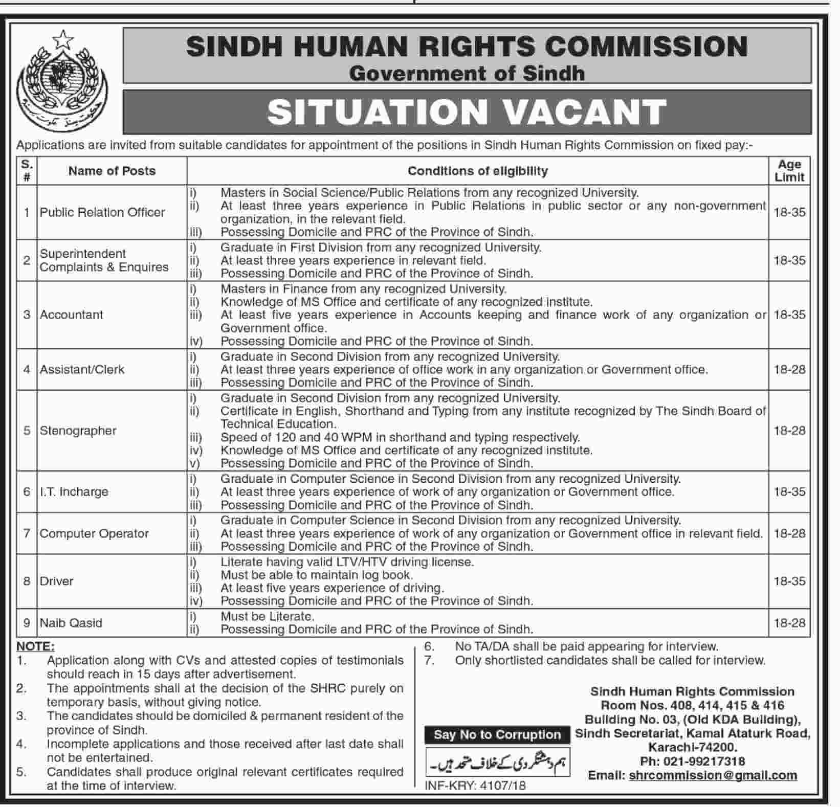 Sindh Humane Rights Commission Jobs 2018 Government Pakistan in Sindh on November, 2018 | Government