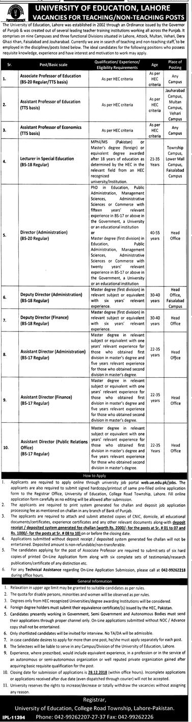 University of Education Lahore Jobs Teaching and Non Teaching jobs Apply online-thumbnail