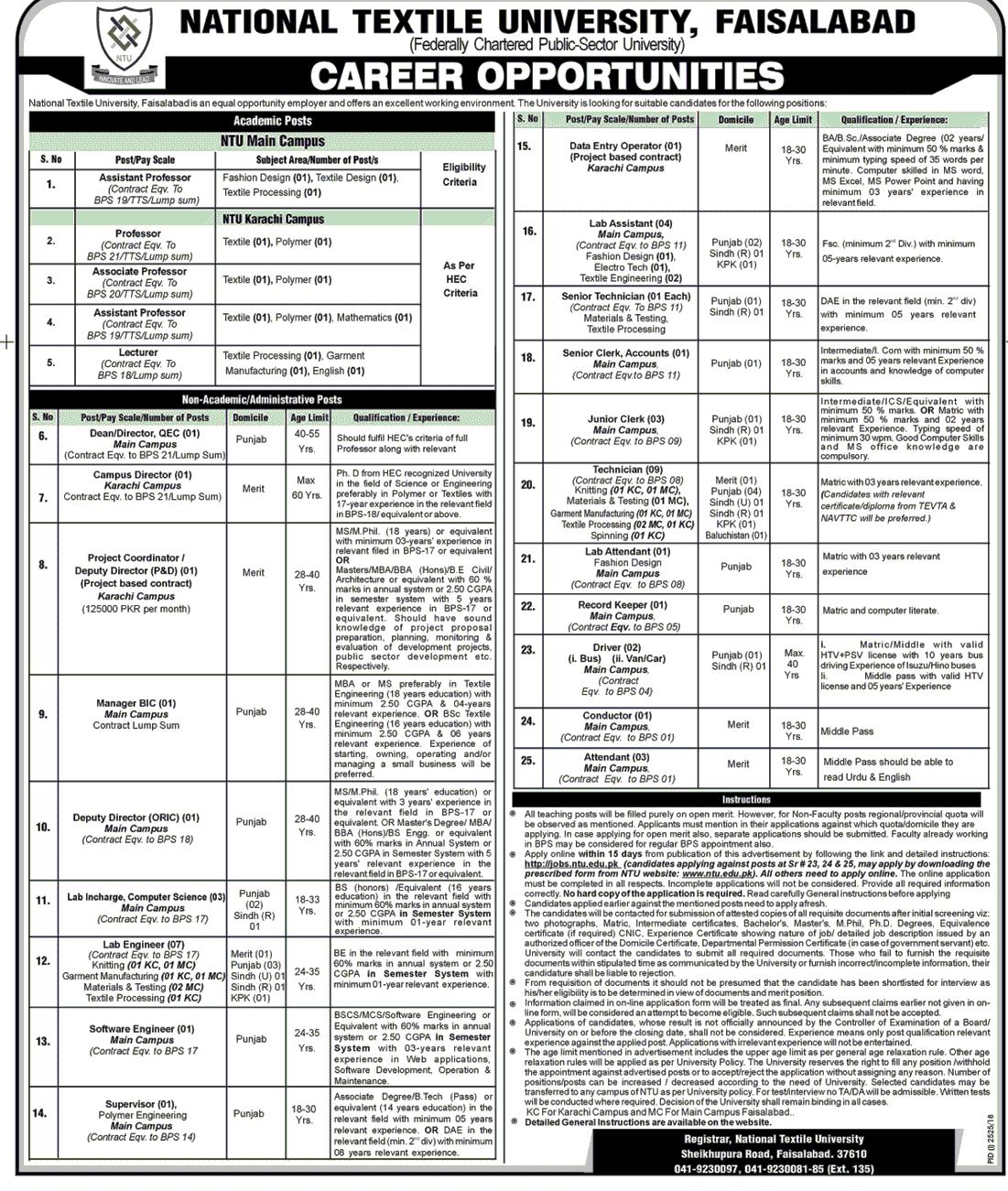 NTU National Textile University Faisalabad Jobs Teaching and Non-Teaching Jobs-thumbnail
