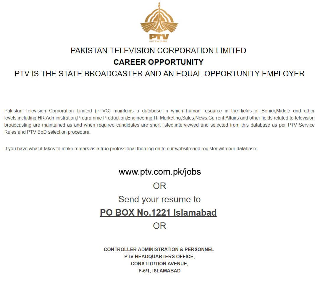 PTV Jobs 2019 Pakistan Television Corporation Apply online-thumbnail