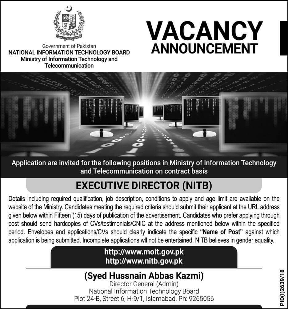 Ministry of Information Technology Board Jobs 2018 Government Pakistan Apply online NITB-thumbnail