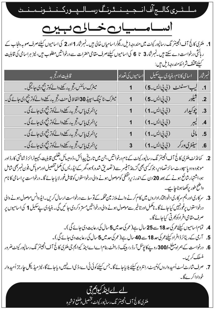 Military College Of Engineering Jobs 2019 Pak Army  -thumbnail
