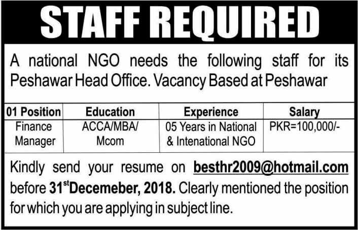 NGO Jobs 2019 Peshawar Kpk  -thumbnail