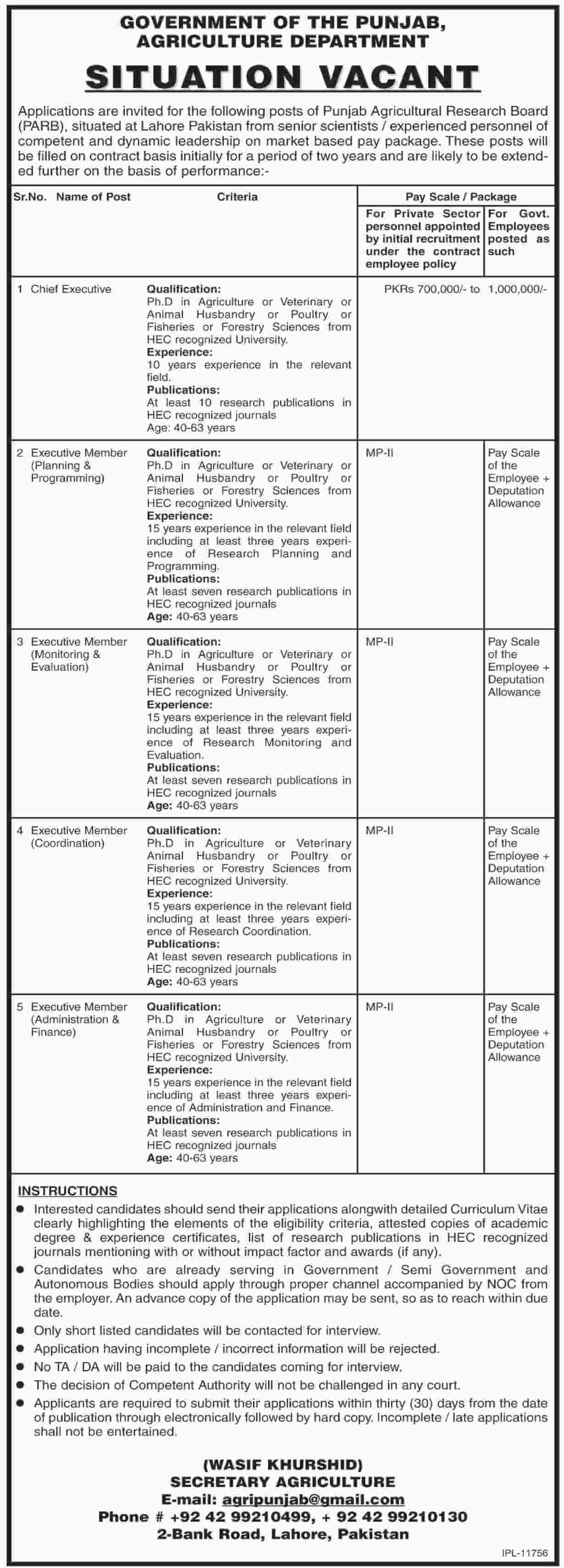 Agriculture Department Jobs 2019 Government Pakistan-thumbnail