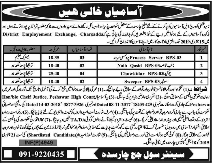 District Employment Exchange Charsada Jobs 2019 KPK-thumbnail