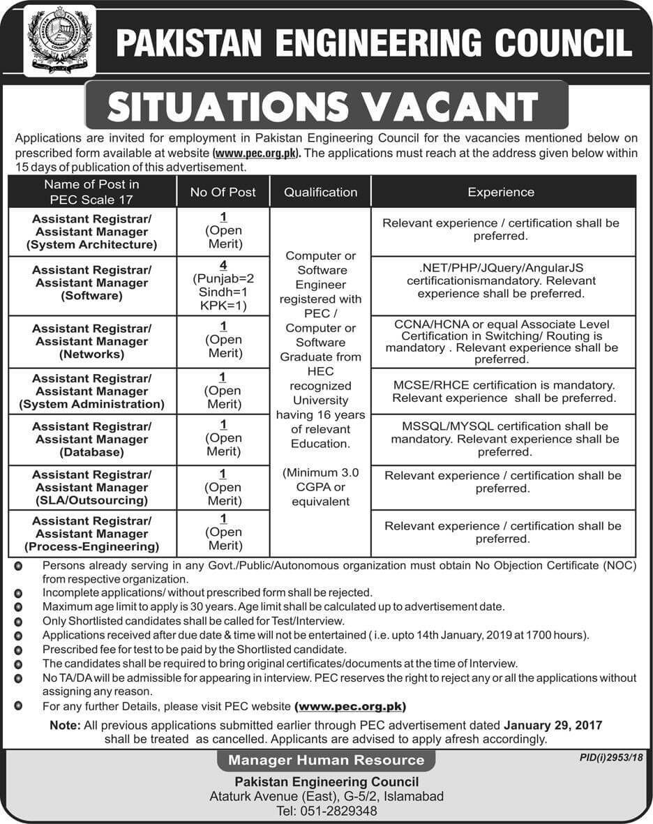 PEC Jobs 2019 Pakistan Engineering Council Download Application Form in All over in Pakistan on December, 2018 | Government