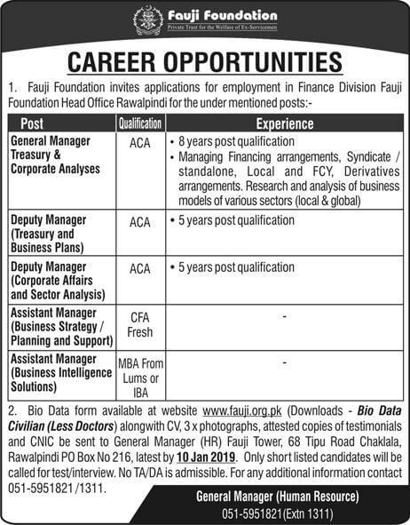 Fauji Foundation Jobs 2019 Download Application Form  in All over in Pakistan on December, 2018 | Private