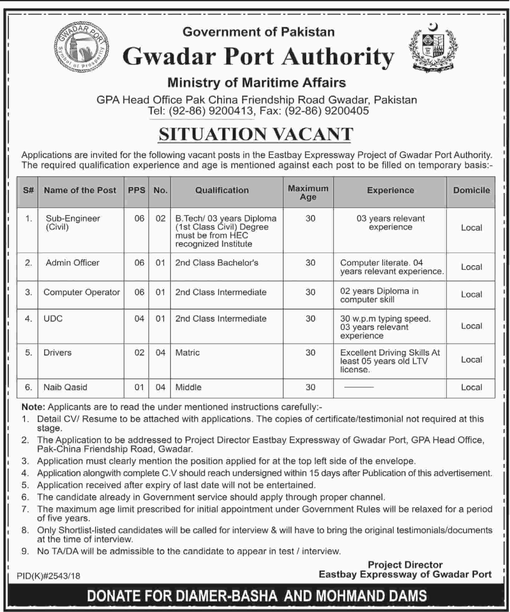 Gwadar Port Authority Jobs 2019 Ministry Of Maritime Affairs in Blochistan on January, 2019 | Government
