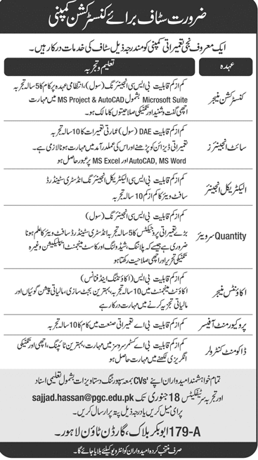 Construction Company Jobs 2019 Lahore Apply Online in Lahore on January, 2019 | Private