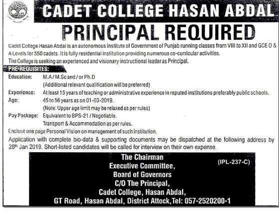 Cadet College Hassan Abdal Jobs 2019 -thumbnail