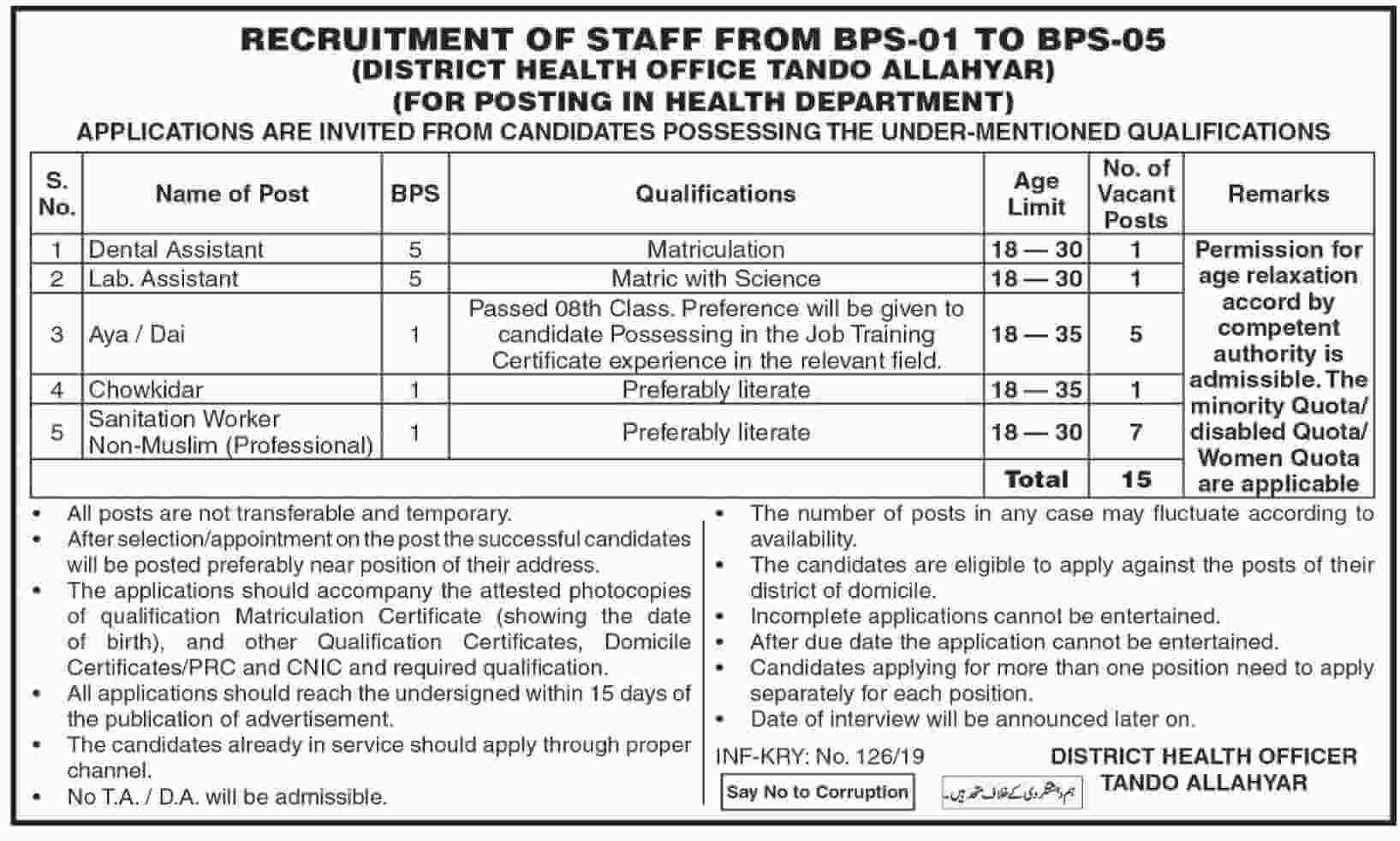 Health Department Jobs 2019 Sindh Tando Allahyar  in Sindh on January, 2019 | Government