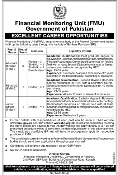 FMU Jobs 2019 Financial Monitoring Unit Government Of Pakistan in Karachi on January, 2019 | Government
