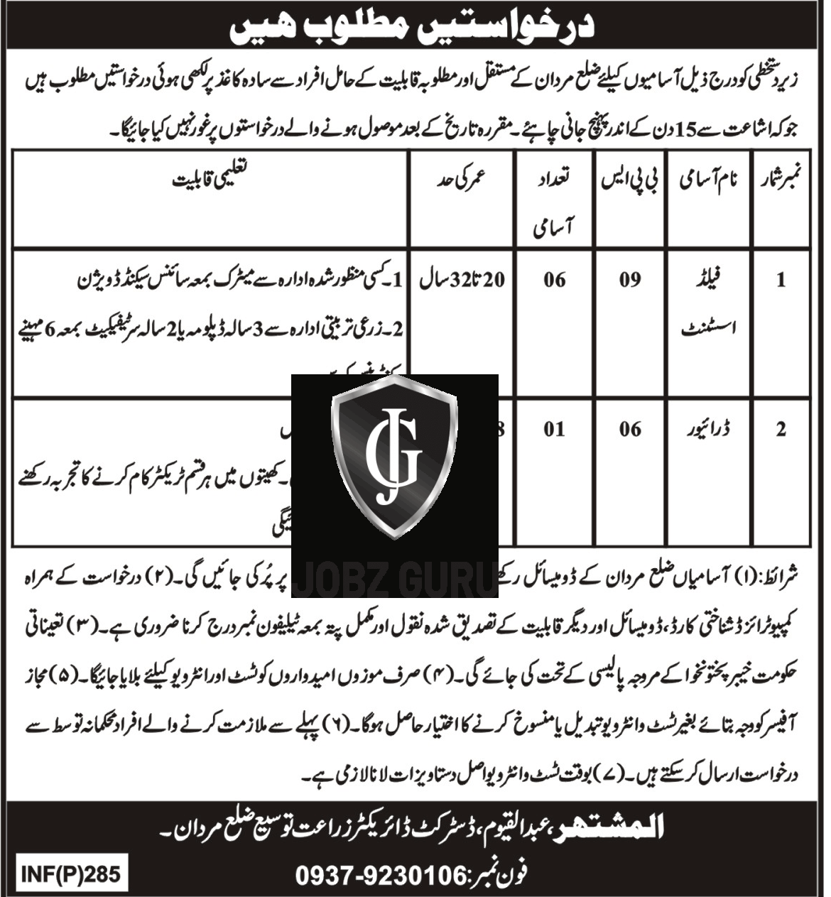 Agriculture Department District Mardan Jobs 2019 KPK in KPK on January, 2019 | Government