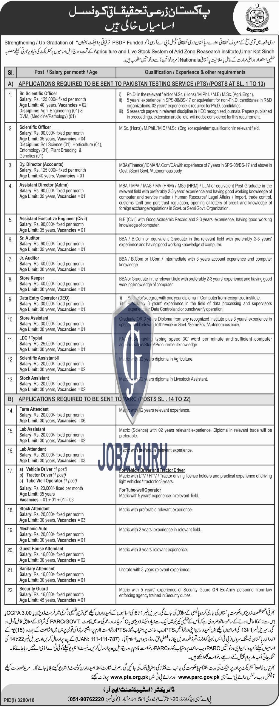 PARC 2019 Pakistan Agriculture research Council download application form-thumbnail