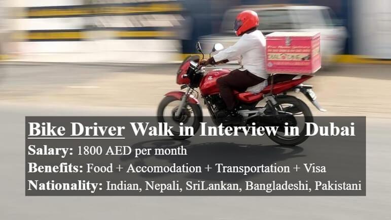 Bike Driver Walk In Interview In Dubai in International Jobs on January, 2019 | Dubai Organization