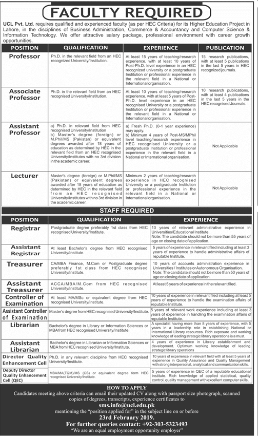 UCL Jobs 2019 Teaching And Non-Teaching Jobs Apply Online in Lahore on January, 2019 | Education Department