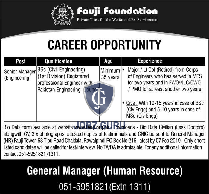 Fauji Foundation Jobs 2019 Download application form free apply all over in pakistan