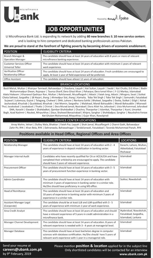 U Bank Jobs 2019 all over the Pakistan Apply online-thumbnail