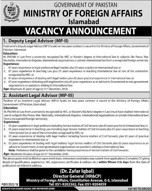 Ministry of Foreign affairs Jobs 2019 Government of Pakistan-thumbnail
