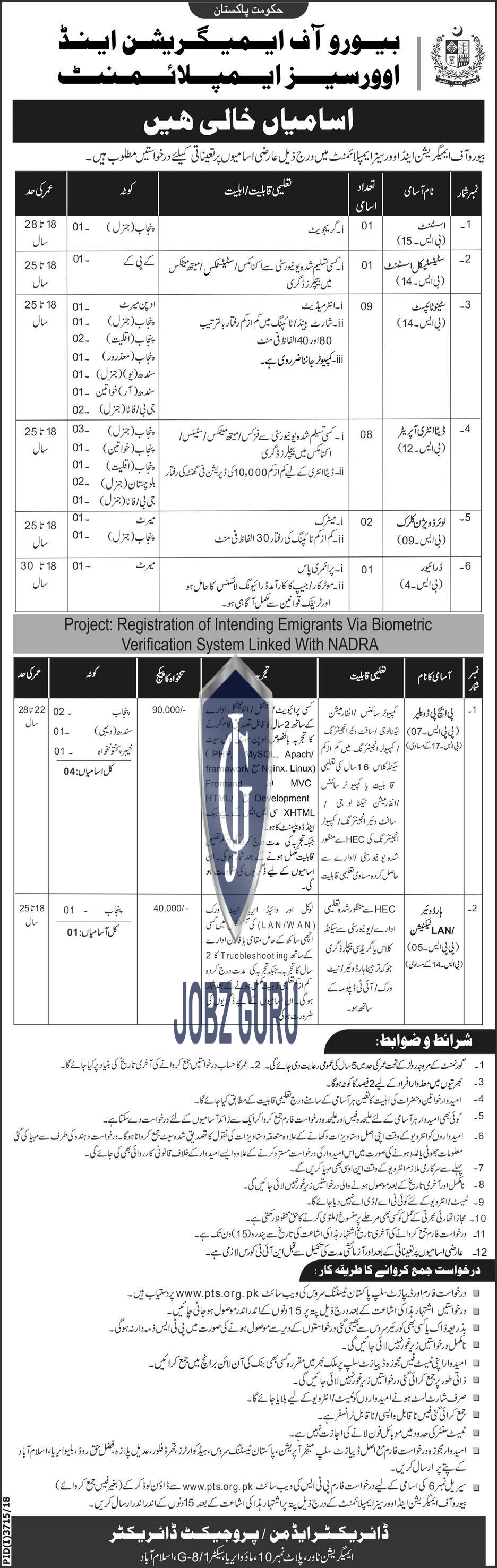 Bureau Of immigration and Overseas Employment Jobs 2019