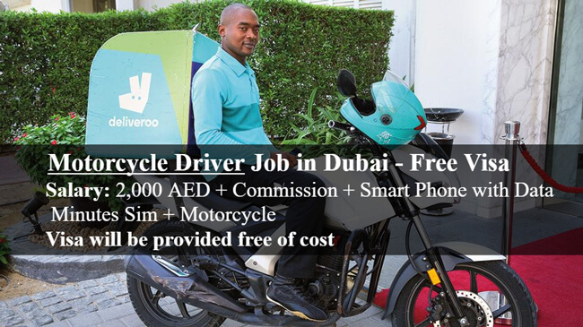 Motorcycle Driver Job In Dubai Free Visa