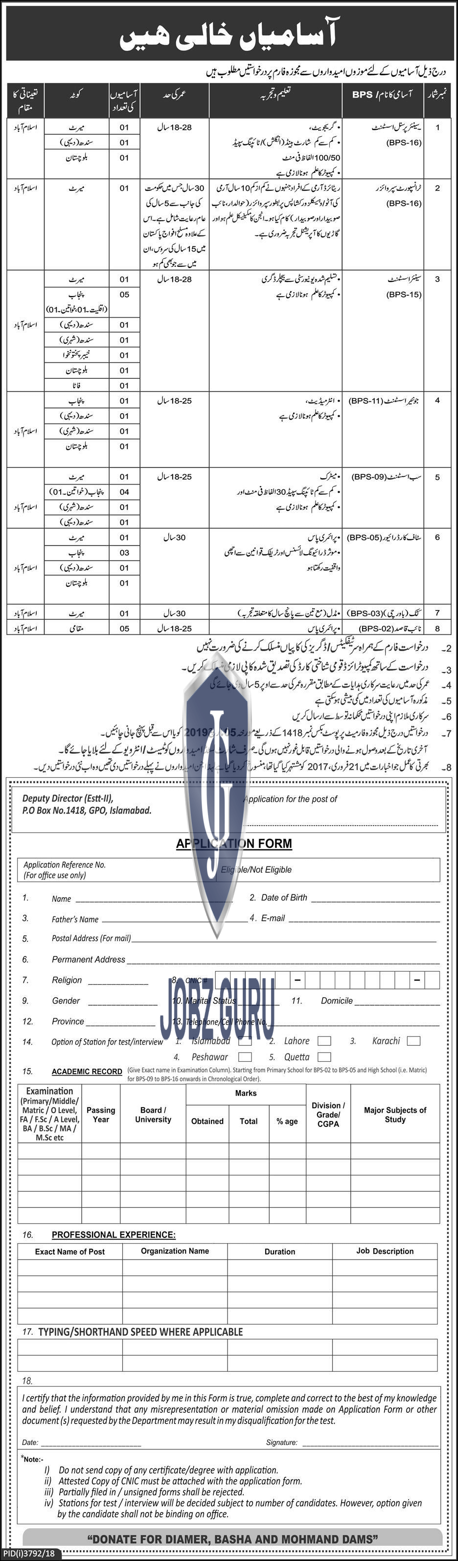 P.O Box No 1418 GPO Islamabad Jobs 2019 All over Pakistan