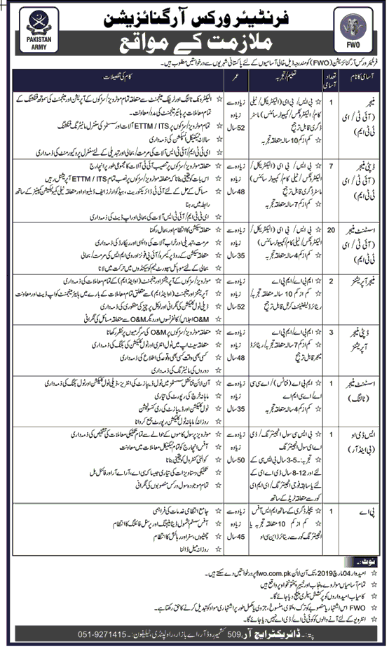 FWO Jobs 2019 Pakistan Government Jobs  in All over in Pakistan on February, 2019 | Government